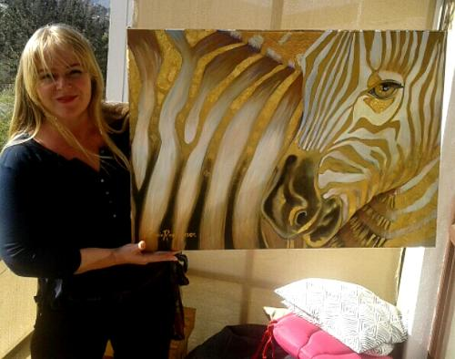 Cherie Roe Dirksen pictured here with her painting Zebra Code - South African Artist Art