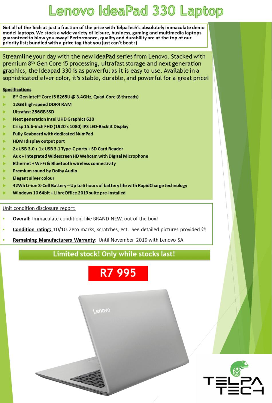 Laptops & Notebooks - Lenovo IdeaPad 330 **8th Gen Core i5, 12GB RAM