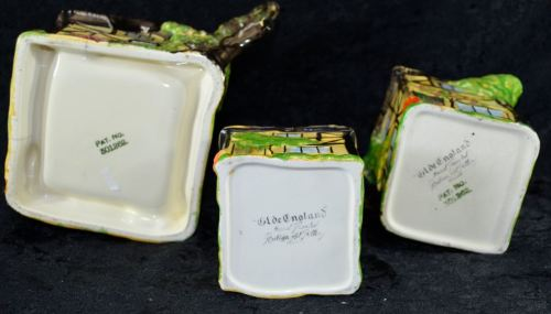 English Porcelain - RUBIAN ART POTTERY HAND PAINTED 5 PIECE