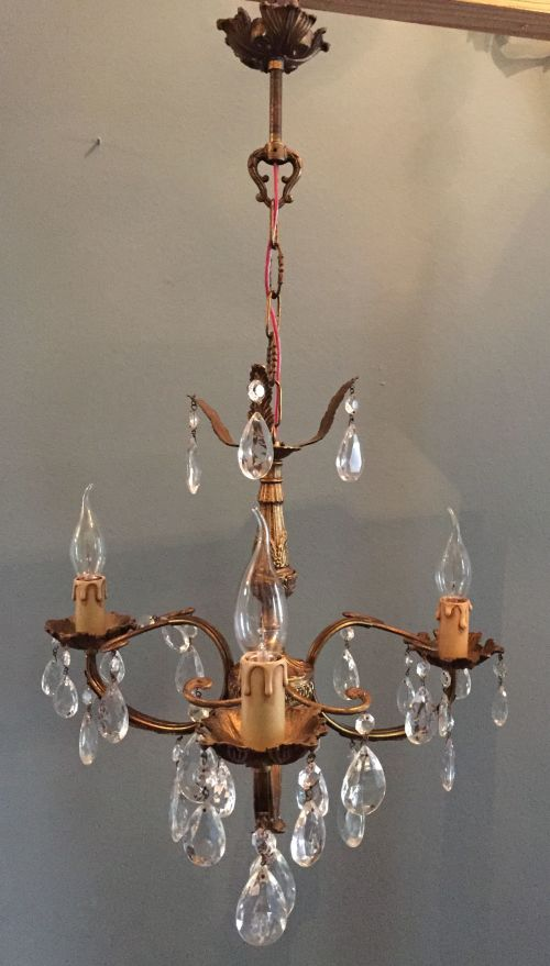 Chandeliers - Vintage French three light bronze and crystal ...