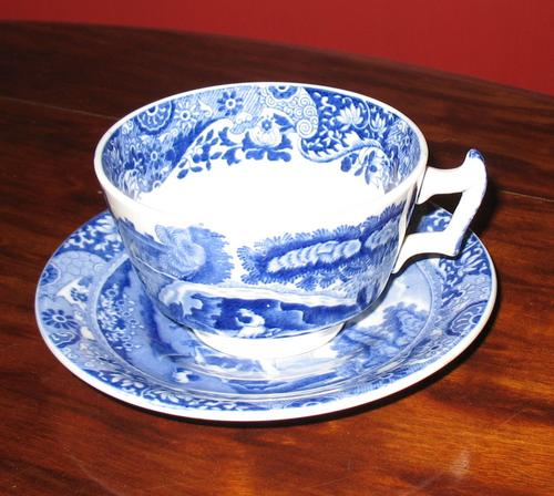 Copeland Spode Italian Teacup And Saucer Blue White China