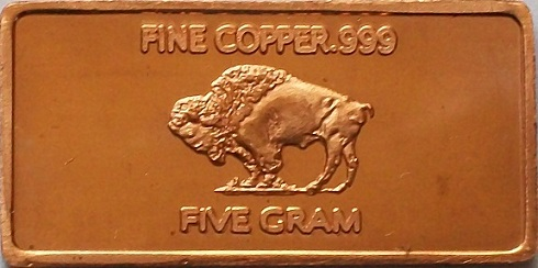 Bullion Bars 5 Gram Fine Copper Bullion Bar 999 Purity