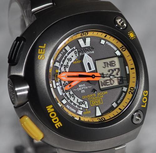 Stopwatches sport watches citizen titanium 200m aqualand eco drive divers watch computer - Citizen titanium dive watch ...
