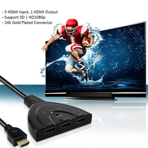 Other Electronics - HD1831 3-Port HDMI Switch with Pigtail Cable was