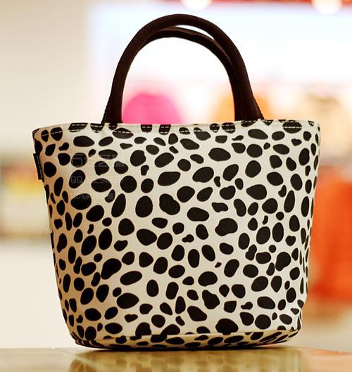 Handbags Amp Bags Snow Leopard Print Fabric Lunch Tote Bag