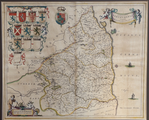 Map Of England Northumbria.Comitatus Northumbria Northumberland England Joannes Blaeu 1645 1648 Ref Mp 3