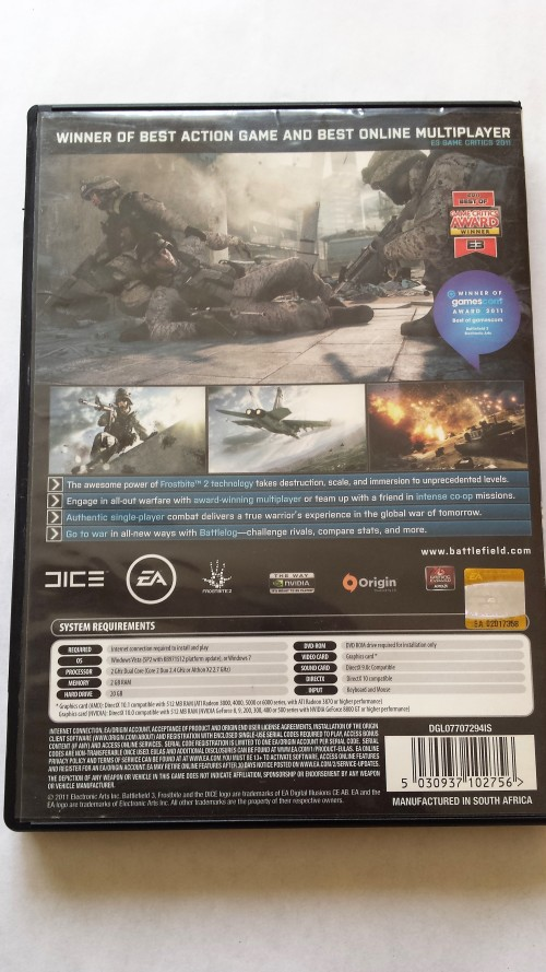 Games - Battlefield 3 - PC CD-Rom was listed for R40 00 on 21 Jun at