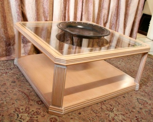 Tables A Very Stylish Beechwood Glass Top Centre Coffee Table With