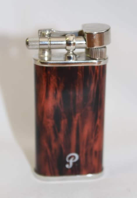 A stylish original (brown marble) Peterson pipe lighter in its original box  in stunning condition