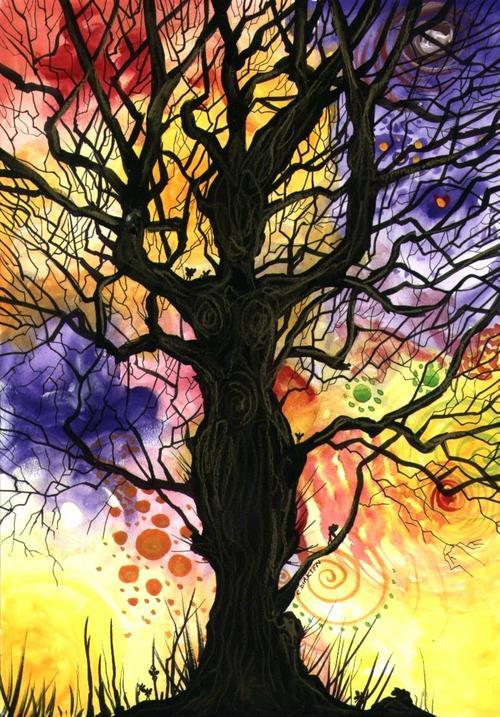 Watercolours Tree Of Life Dusk Original Painting