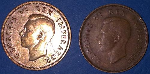 1945 Half Penny GEORGIVS VI REX IMPERATOR - 2 COINS - VERY GOOD CONDITION!!!