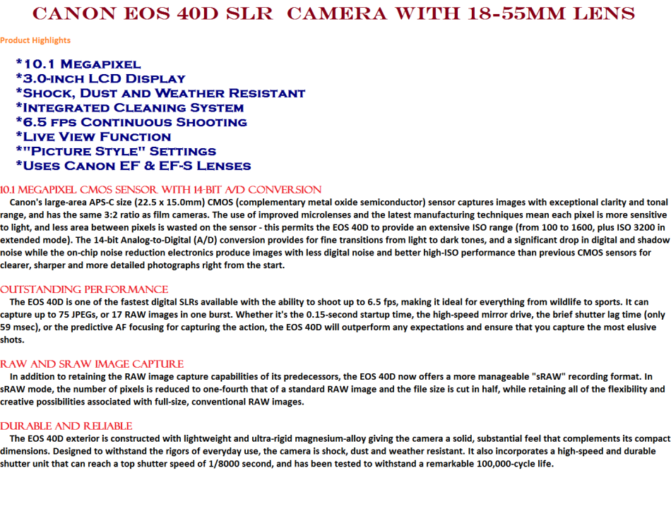 Digital SLR - Canon EOS 40D SLR Digital Camera WITH 18-55MM