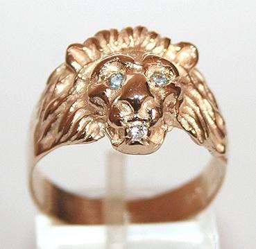 rings 9k 9ct gold lion ring blue topaz eyes