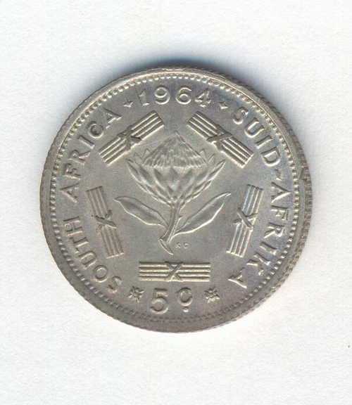RSA 1964 5 Cent with cracked die to the left of the 1