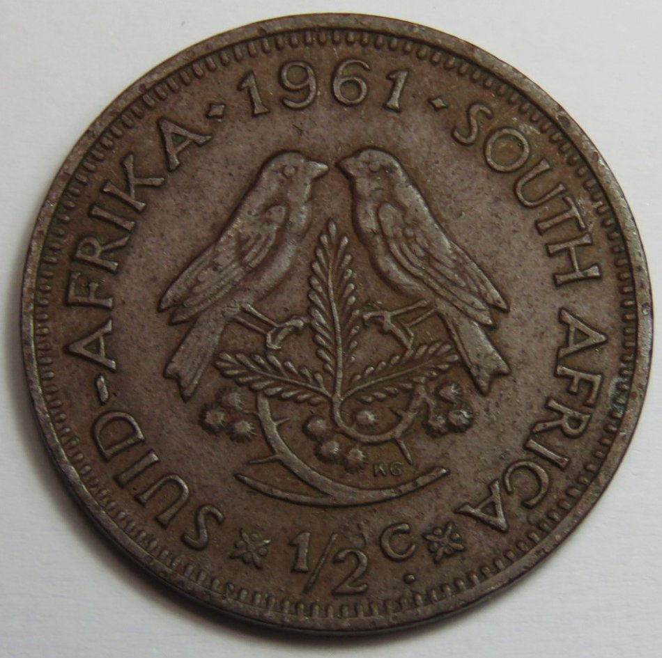 1961 Bronze half cent brown - does not look like the yellow copper specimens at all