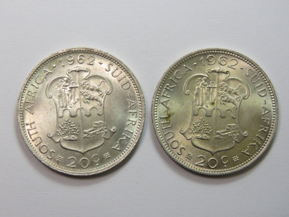 1962 silver 20 cent pieces small 62 & 62 varieties