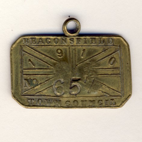 Beacons field 1910 tool check 657 with number 30 - used at Kimberley