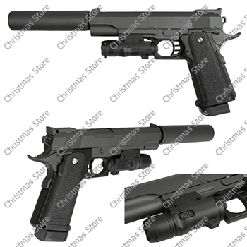 Metal Airsoft Pistol Spring 6mm BB Gun Colt 911 with Laser Silencer