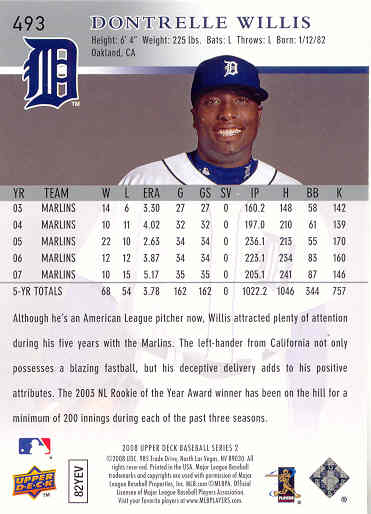 Trading Cards Dontrelle Willis 2008 Upper Deck Baseball