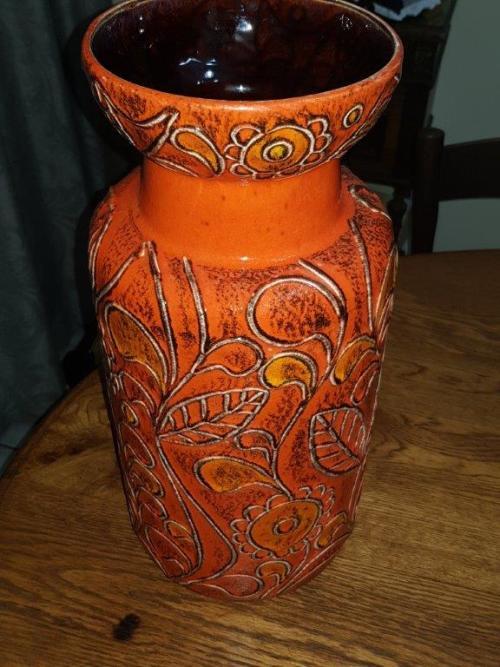 German Porcelain Bay Keramik West Germany Potter Large Orange