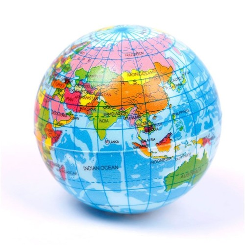 Geography history world map earth globe stress relief ball atlas colorful world map globe style bounce ball 100 brand new and high quality gumiabroncs Gallery