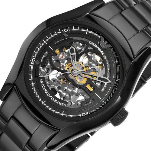 24fc7eb6481a Emporio Armani Ceramica Watch Automatic Skeleton Black Ceramic Bracelet  AR1414