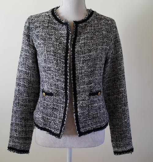 Preferred Jackets & Coats - Ladies jacket Chanel style tweed look in black  TJ78