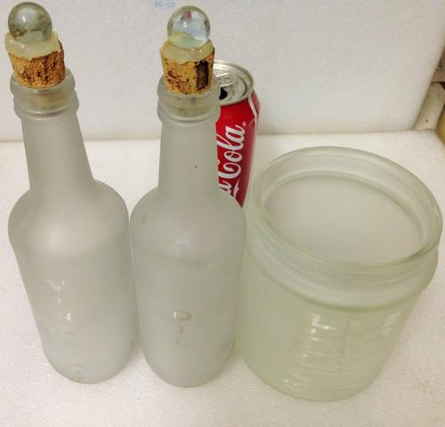 FROSTED DECANTERS -CONDIMENTS 2 BOTTLES-1 JAR *[ NAME ON VINEGAR OIL  COFFEE]*1 CLEAR