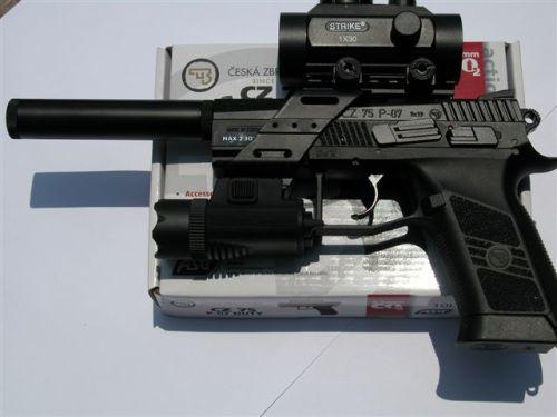 Bb Guns Brand New Asg Cz 75 P 07 Duty Blowback Gun Red Dot Sight