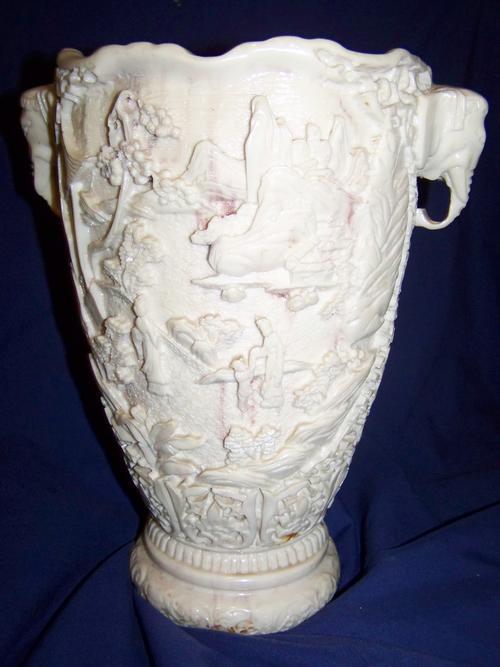 Oriental Porcelain Vintage Faux Ivory Elephant Head Vase