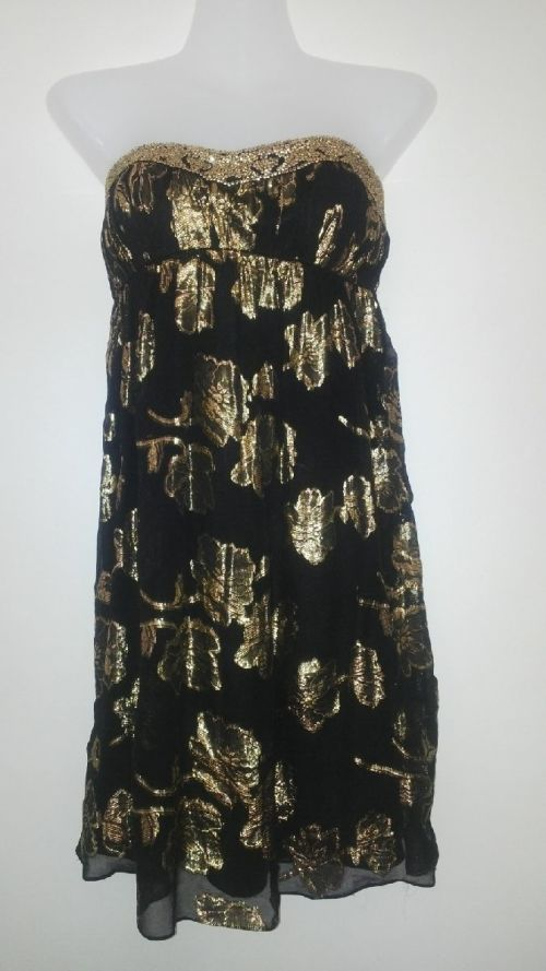 38c72d14dd3 Stunning Silk Gold and Black Dress for a Special Occasion by Cache Size 8