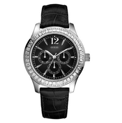 Women 39 s watches brand new guess muse ladies watch swarovski crystals black genuine crocodile for Swarovski crystals watch