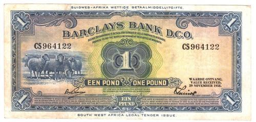 Africa - 1958 South West Africa 1 Pound Barclays Bank *great