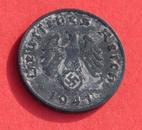 DEUTSCHES REICH 1 REICHSPFENNIG 1941 A - Rare German 100% Zinc Coin  ORIGINAL THIRD REICH COLLECTIBLE