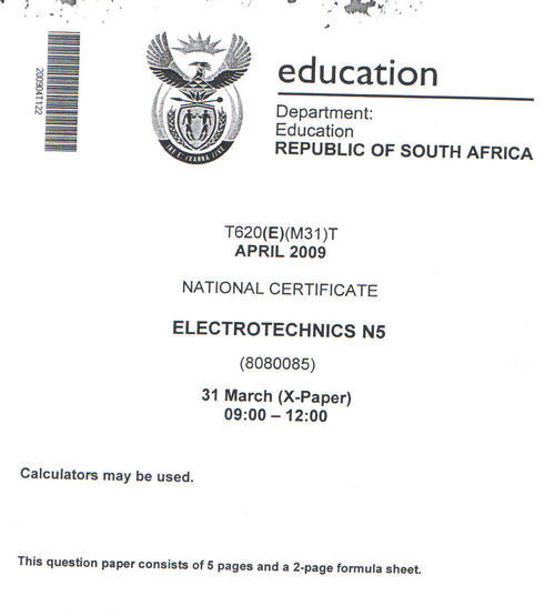 Other textbooks educational electrotechnics n5 april 2009 ive given a copy of the actual question paper page 1 and the answers to that fandeluxe Choice Image