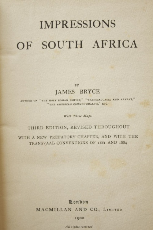 Africana Books - Impressions of South Africa by James Bryce