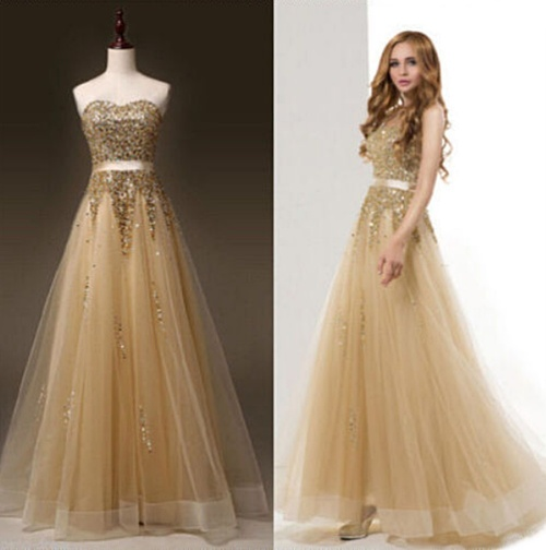 WILD ROSE  Gold Sequin Formal Prom Wedding Bridesmaid Dress - Set Sizes - Free  Shipping 6e5db2bd710a