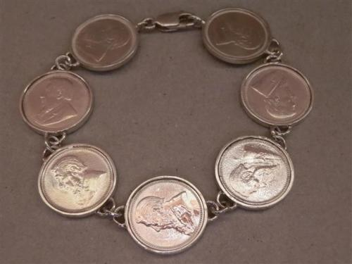 Precious Metal Without Stones Silver Hallmarked Sixpence Bracelet