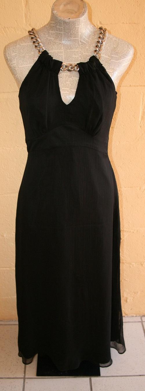 Formal Dresses Black Evening Dress With Chain Neckline