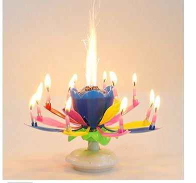 Musical Flower Rotating Birthday Candles MaterialPlastic ColorPink Blue Multi Clor Size Height 115cm Package Content 1 PC