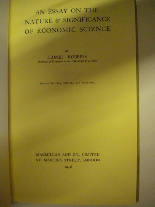 n essay on the nature and significance of economic science