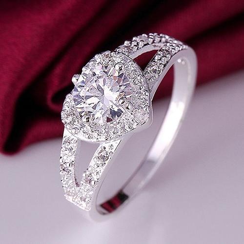 Silver Dangle Heart Ring