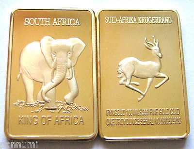 R1start Elephant Sa Krugerrand 1 Oz 999 24k Pure Gold Layered Bullion Bar