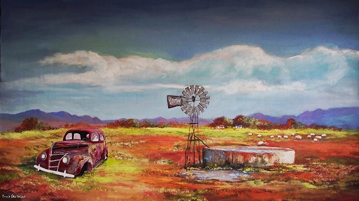 "Oils - AN ORIGINAL LOUIS PRETORIUS:""Old car reaches climax"" windmill LARGE :(l400mm x 780mm) was"