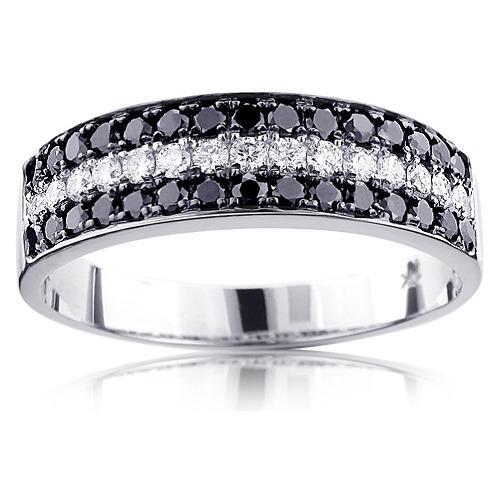 Designer Mens Black And White Diamond Wedding Band