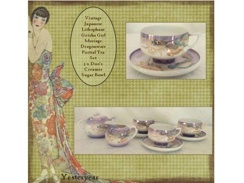 Vintage Japanese Lithophane Geisha Girl Moriage Dragonware Partial Tea Set