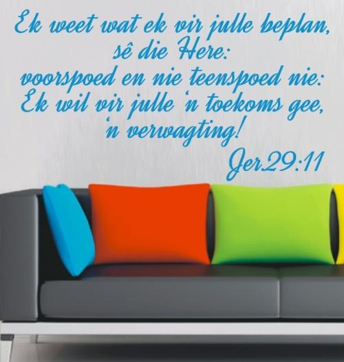 Extreem Wall Decals - FREE SHIP/LOW COURIER - BYBEL VERS JEREMIA 29:11  @GF43