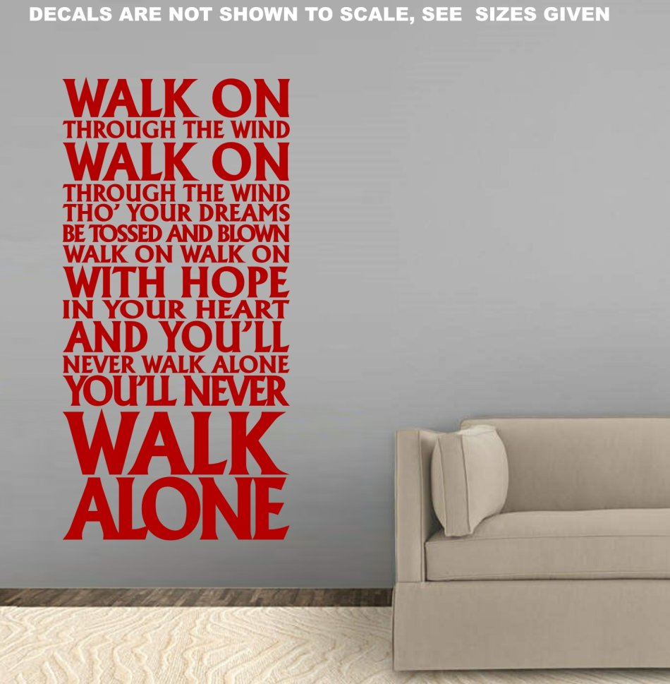 Free ship low courier never walk alone liverpool fc anthem wall sticker med 60 colours