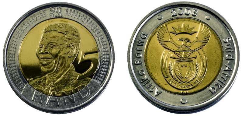 2008 NELSON MANDELA BIRTHDAY R5 COINS