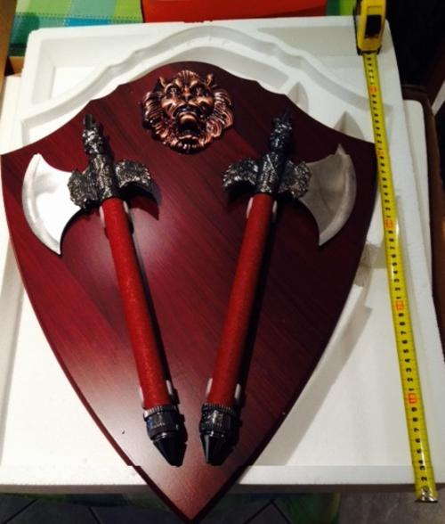 Knives Double Axe Wall Mount Display With Free Plaque